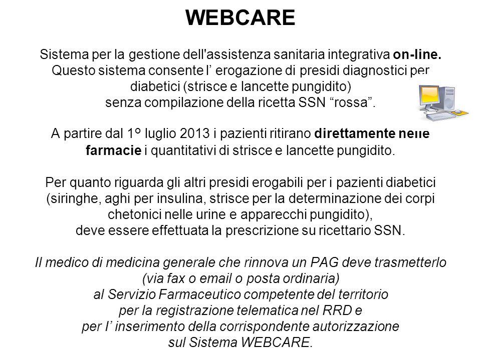 WEBCARE Sistema per la gestione dell'assistenza sanitaria integrativa on-line. Questo sistema consente l' erogazione di presidi diagnostici per diabet