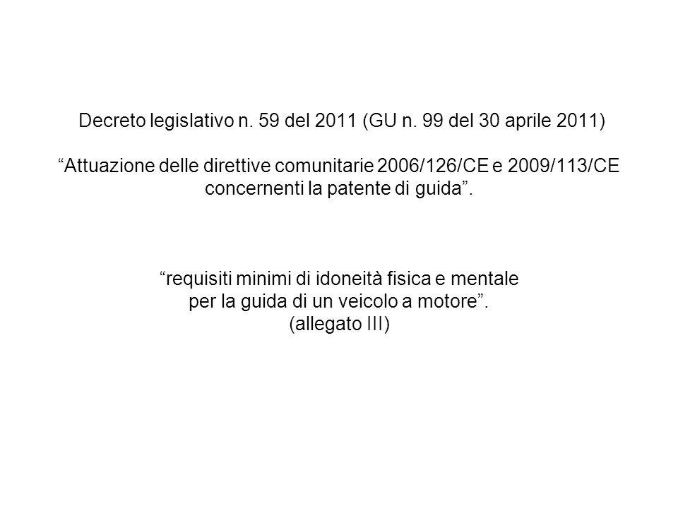 """Decreto legislativo n. 59 del 2011 (GU n. 99 del 30 aprile 2011) """"Attuazione delle direttive comunitarie 2006/126/CE e 2009/113/CE concernenti la pate"""