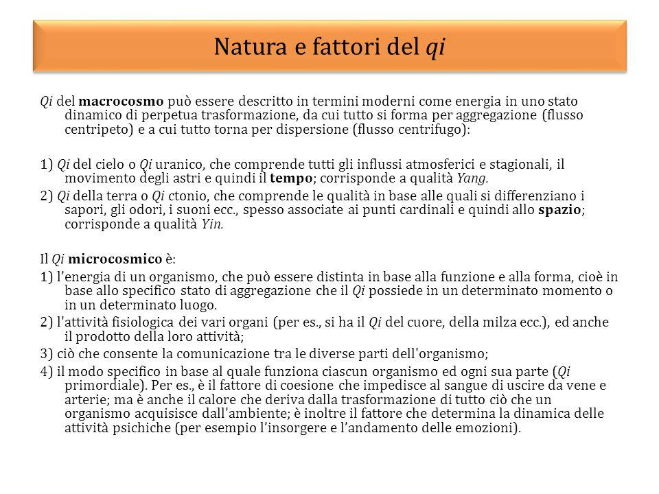 Natura e fattori del qi Qi del macrocosmo può essere descritto in termini moderni come energia in uno stato dinamico di perpetua trasformazione, da cu