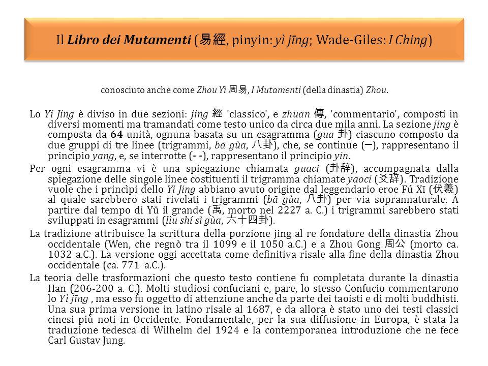 Il Libro dei Mutamenti ( 易經, pinyin: yì jīng; Wade-Giles: I Ching) conosciuto anche come Zhou Yi 周易, I Mutamenti (della dinastia) Zhou.