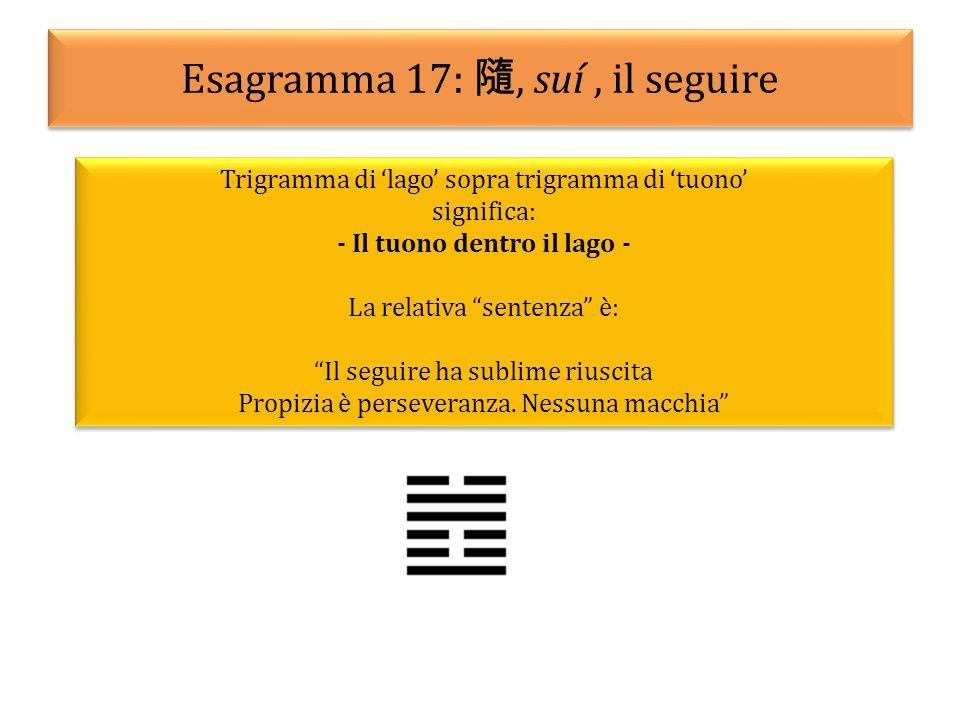 Esagramma 17: 隨, suí, il seguire Trigramma di 'lago' sopra trigramma di 'tuono' significa: - Il tuono dentro il lago - La relativa sentenza è: Il seguire ha sublime riuscita Propizia è perseveranza.