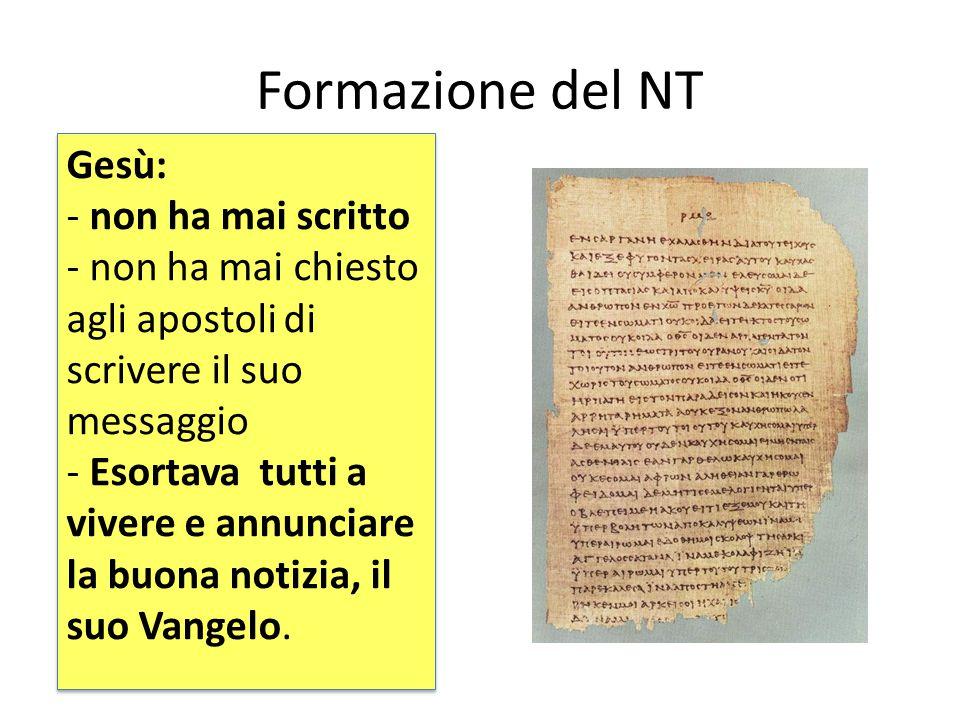 Il canone del NT È l'elenco dei testi del NT riconosciuti come ispirati, definito nel VI secolo. 27 sono i libri: 4 Vangeli Gli Atti degli Apostoli 21