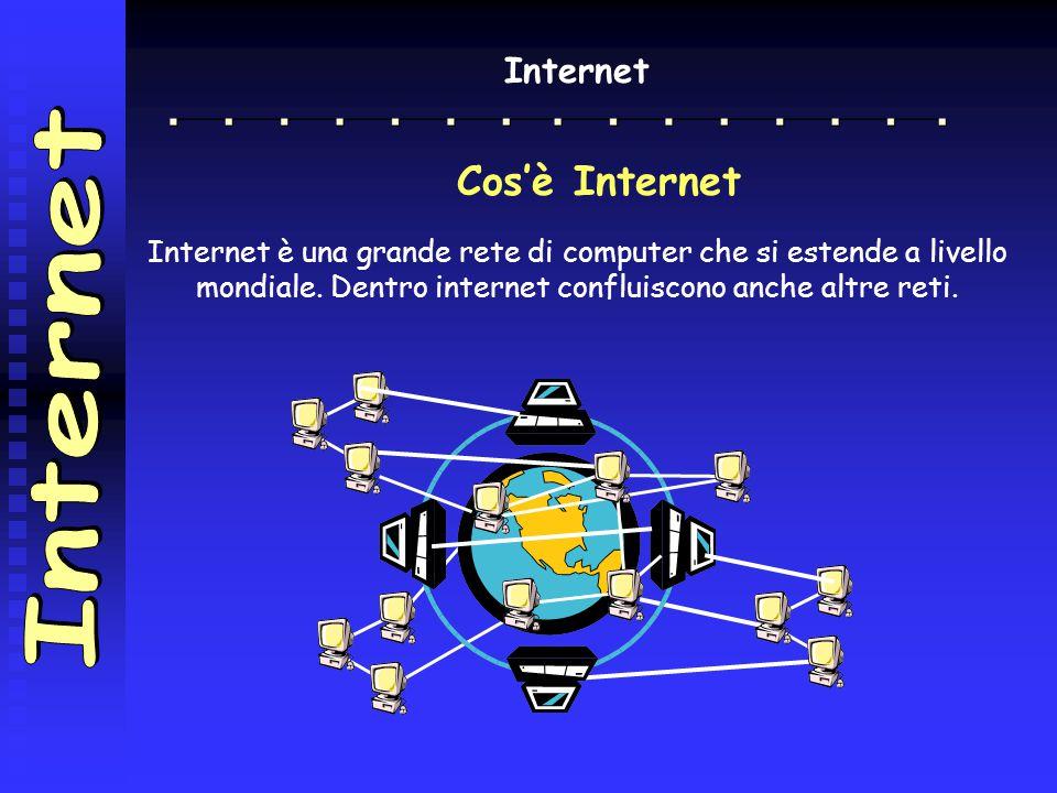 Internet Cos'è Internet Internet è una grande rete di computer che si estende a livello mondiale. Dentro internet confluiscono anche altre reti.