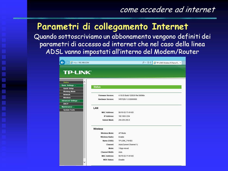 come accedere ad internet Parametri di collegamento Internet Quando sottoscriviamo un abbonamento vengono definiti dei parametri di accesso ad interne