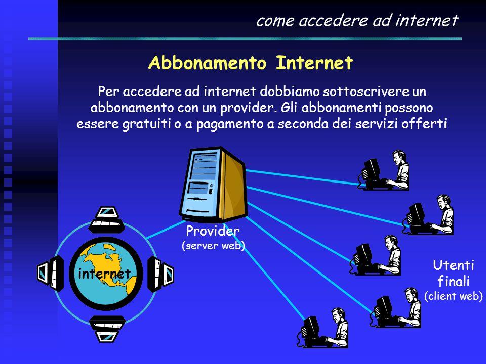 come accedere ad internet Abbonamento Internet Per accedere ad internet dobbiamo sottoscrivere un abbonamento con un provider. Gli abbonamenti possono