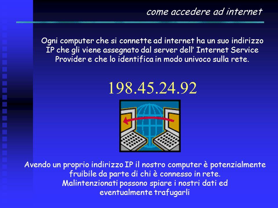 come accedere ad internet Ogni computer che si connette ad internet ha un suo indirizzo IP che gli viene assegnato dal server dell' Internet Service Provider e che lo identifica in modo univoco sulla rete.
