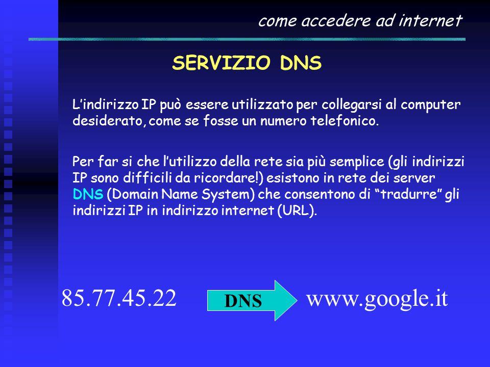 come accedere ad internet SERVIZIO DNS L'indirizzo IP può essere utilizzato per collegarsi al computer desiderato, come se fosse un numero telefonico.