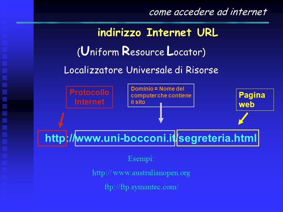 come accedere ad internet indirizzo Internet URL ( U niform R esource L ocator) Localizzatore Universale di Risorse Esempi: http:// www.australianopen