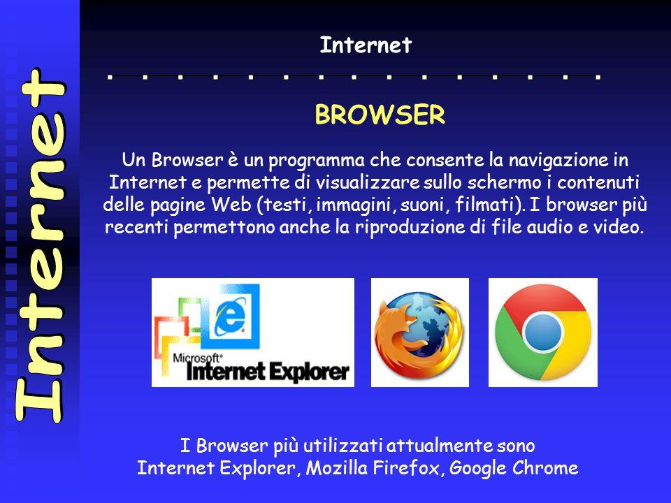 Internet BROWSER Un Browser è un programma che consente la navigazione in Internet e permette di visualizzare sullo schermo i contenuti delle pagine Web (testi, immagini, suoni, filmati).
