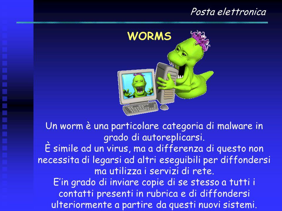 Posta elettronica WORMS Un worm è una particolare categoria di malware in grado di autoreplicarsi. È simile ad un virus, ma a differenza di questo non