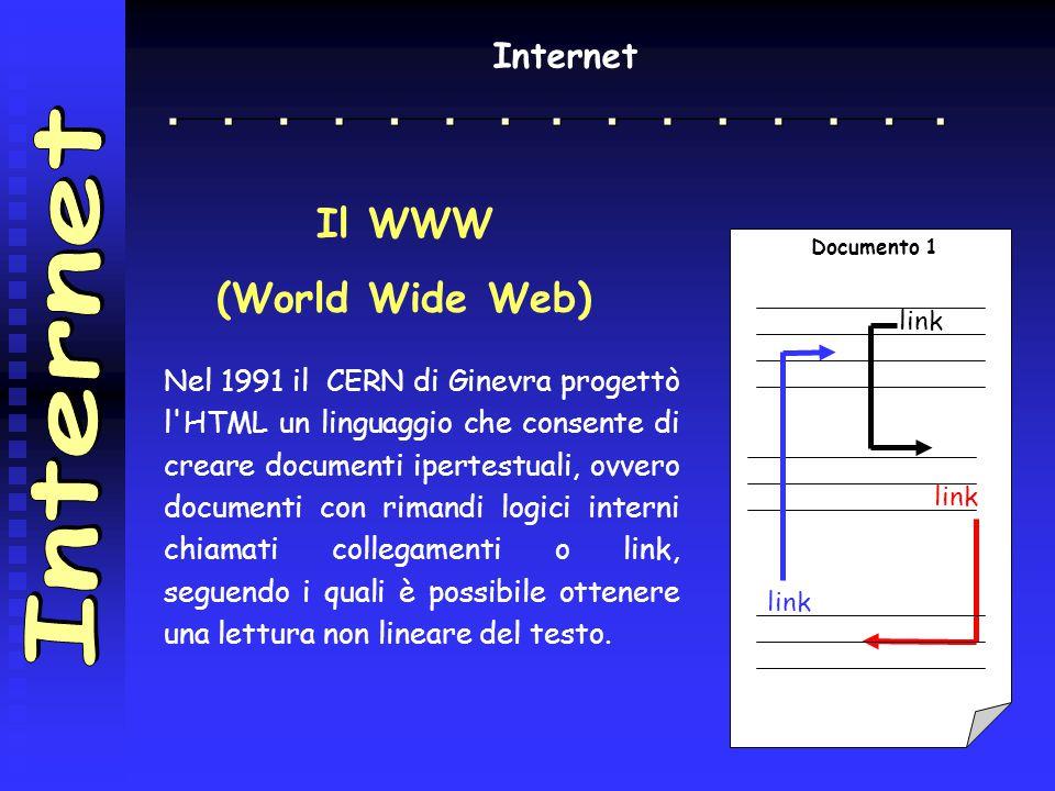 Internet Il WWW (World Wide Web) Nel 1991 il CERN di Ginevra progettò l HTML un linguaggio che consente di creare documenti ipertestuali, ovvero documenti con rimandi logici interni chiamati collegamenti o link, seguendo i quali è possibile ottenere una lettura non lineare del testo.