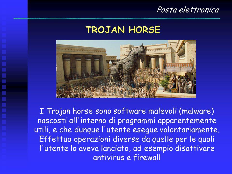 Posta elettronica TROJAN HORSE I Trojan horse sono software malevoli (malware) nascosti all interno di programmi apparentemente utili, e che dunque l utente esegue volontariamente.