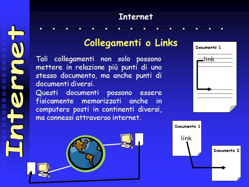 Internet Collegamenti o Links Tali collegamenti non solo possono mettere in relazione più punti di uno stesso documento, ma anche punti di documenti d