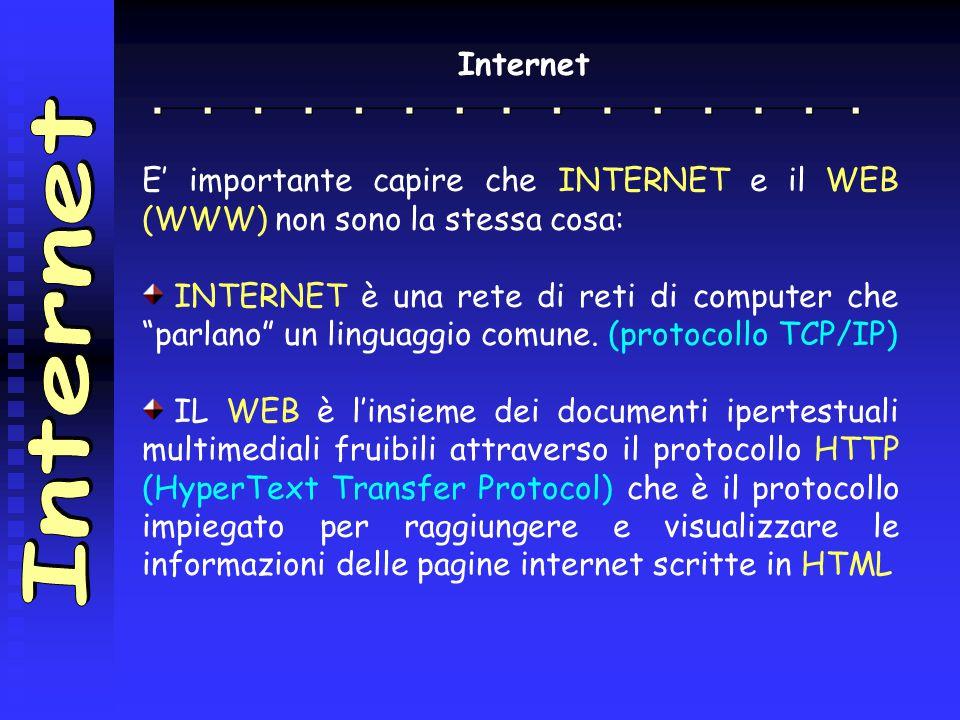 Internet E' importante capire che INTERNET e il WEB (WWW) non sono la stessa cosa: INTERNET è una rete di reti di computer che parlano un linguaggio comune.
