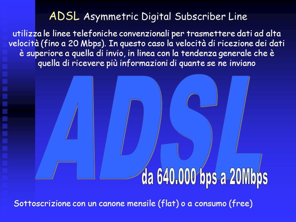 ADSL Asymmetric Digital Subscriber Line utilizza le linee telefoniche convenzionali per trasmettere dati ad alta velocità (fino a 20 Mbps).