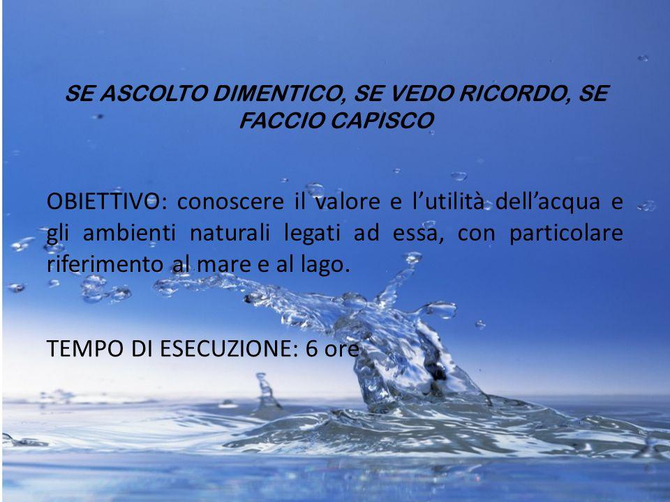 SE ASCOLTO DIMENTICO, SE VEDO RICORDO, SE FACCIO CAPISCO OBIETTIVO: conoscere il valore e l'utilità dell'acqua e gli ambienti naturali legati ad essa,