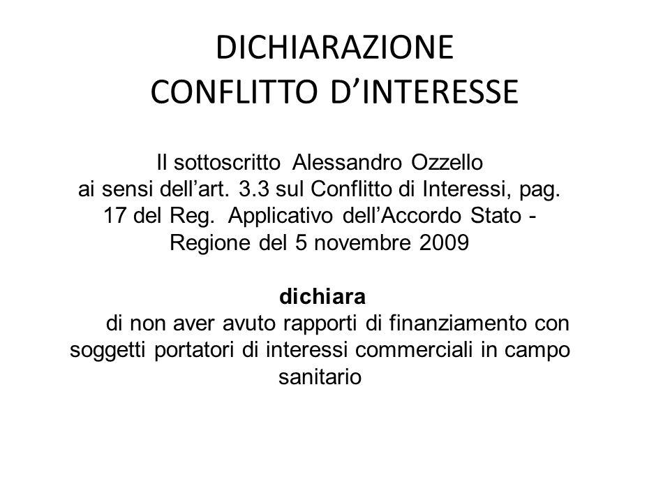 DICHIARAZIONE CONFLITTO D'INTERESSE Il sottoscritto Alessandro Ozzello ai sensi dell'art. 3.3 sul Conflitto di Interessi, pag. 17 del Reg. Applicativo