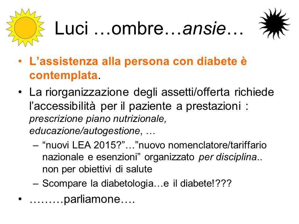 Luci …ombre…ansie… L'assistenza alla persona con diabete è contemplata. La riorganizzazione degli assetti/offerta richiede l'accessibilità per il pazi