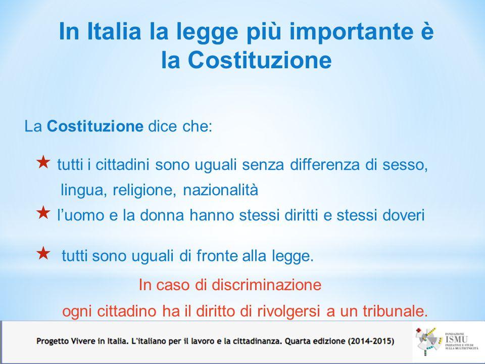 In Italia la legge più importante è la Costituzione La Costituzione dice che:  tutti i cittadini sono uguali senza differenza di sesso, lingua, relig