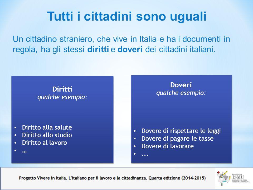 Tutti i cittadini sono uguali Un cittadino straniero, che vive in Italia e ha i documenti in regola, ha gli stessi diritti e doveri dei cittadini ital