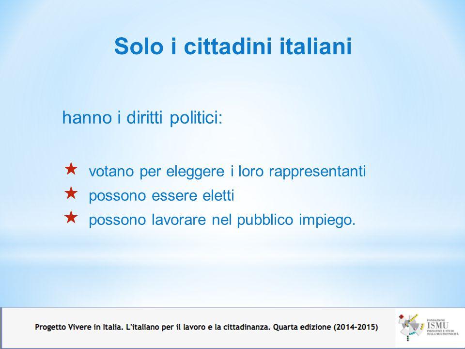 Solo i cittadini italiani hanno i diritti politici:  votano per eleggere i loro rappresentanti  possono essere eletti  possono lavorare nel pubblic