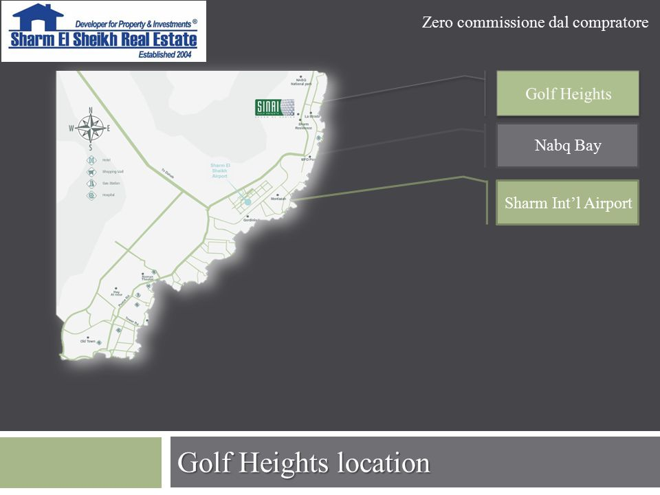 Golf Heights location Nabq Bay Sharm Int'l Airport Zero commissione dal compratore
