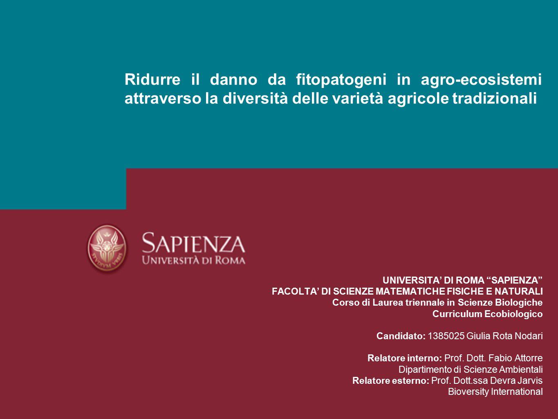 Ridurre il danno da fitopatogeni in agro-ecosistemi attraverso la diversità delle varietà agricole tradizionali La diversità delle varietà agricole tradizionali 2.