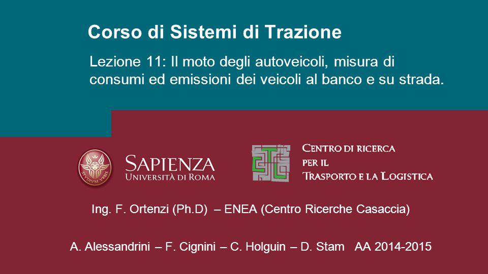 Corso di Sistemi di Trazione A. Alessandrini – F. Cignini – C. Holguin – D. Stam AA 2014-2015 Lezione 11: Il moto degli autoveicoli, misura di consumi