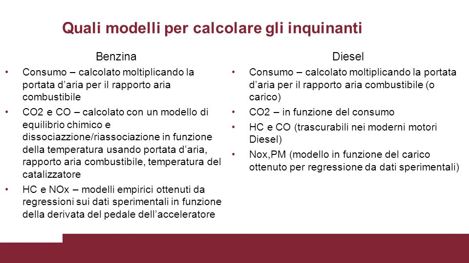 Quali modelli per calcolare gli inquinanti Benzina Consumo – calcolato moltiplicando la portata d'aria per il rapporto aria combustibile CO2 e CO – ca