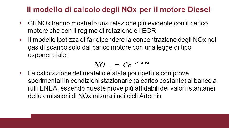 Il modello di calcolo degli NOx per il motore Diesel Gli NOx hanno mostrato una relazione più evidente con il carico motore che con il regime di rotaz
