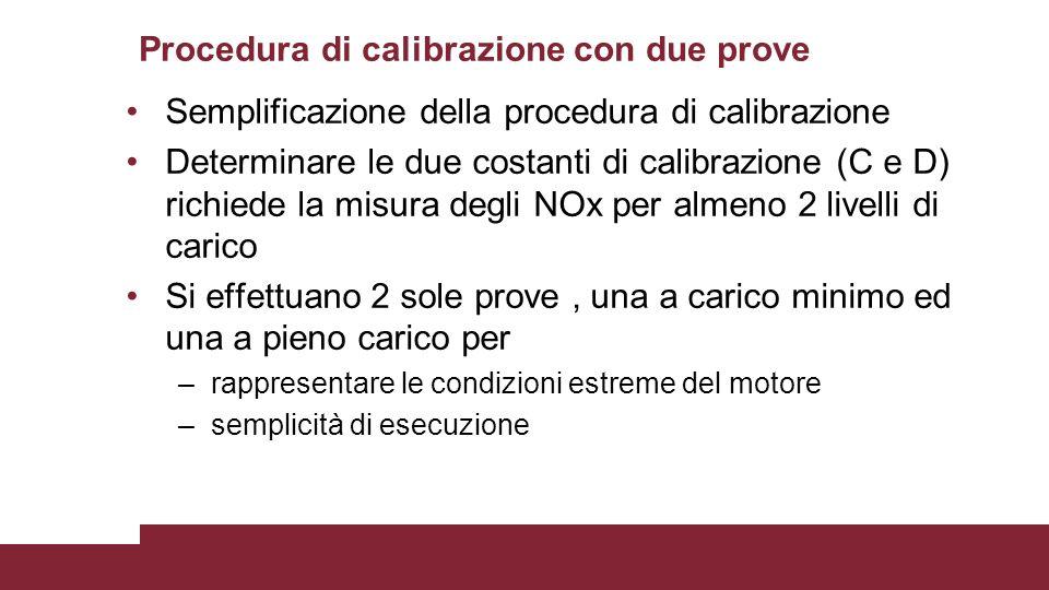 Procedura di calibrazione con due prove Semplificazione della procedura di calibrazione Determinare le due costanti di calibrazione (C e D) richiede l