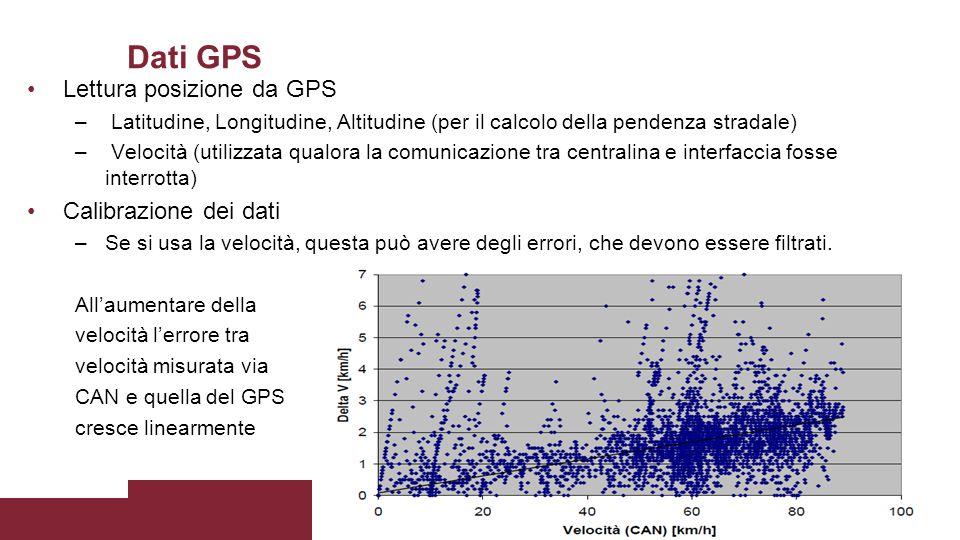 Dati GPS Lettura posizione da GPS – Latitudine, Longitudine, Altitudine (per il calcolo della pendenza stradale) – Velocità (utilizzata qualora la com