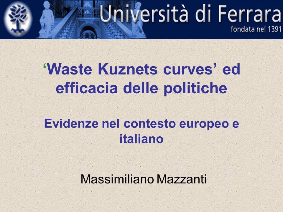 'Waste Kuznets curves' ed efficacia delle politiche Evidenze nel contesto europeo e italiano Massimiliano Mazzanti