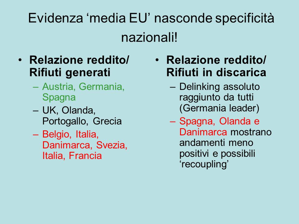 Evidenza 'media EU' nasconde specificità nazionali.