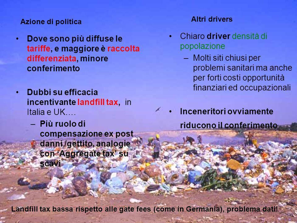 Dove sono più diffuse le tariffe, e maggiore è raccolta differenziata, minore conferimento Dubbi su efficacia incentivante landfill tax, in Italia e UK….