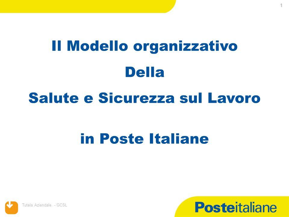 11/08/2015 Tutela Aziendale - GCSL 1 Il Modello organizzativo Della Salute e Sicurezza sul Lavoro in Poste Italiane