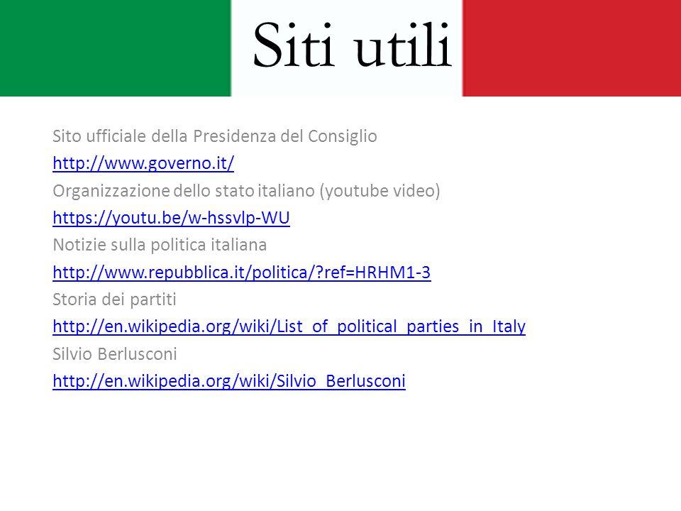 Sito ufficiale della Presidenza del Consiglio http://www.governo.it/ Organizzazione dello stato italiano (youtube video) https://youtu.be/w-hssvlp-WU
