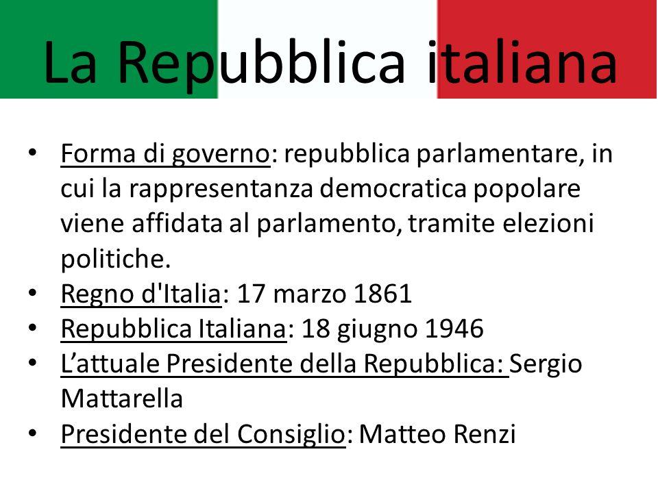 La Repubblica italiana Forma di governo: repubblica parlamentare, in cui la rappresentanza democratica popolare viene affidata al parlamento, tramite