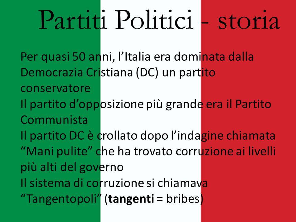 Partiti Politici - storia Per quasi 50 anni, l'Italia era dominata dalla Democrazia Cristiana (DC) un partito conservatore Il partito d'opposizione pi