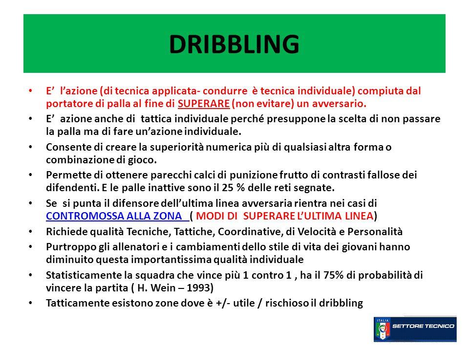 DRIBBLING E' l'azione (di tecnica applicata- condurre è tecnica individuale) compiuta dal portatore di palla al fine di SUPERARE (non evitare) un avversario.