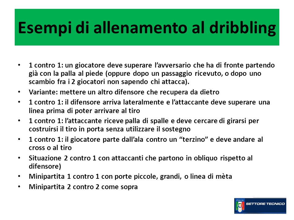 Cosa può fare l'allenatore per incentivare nei propri giocatori l'uso del dribbling.