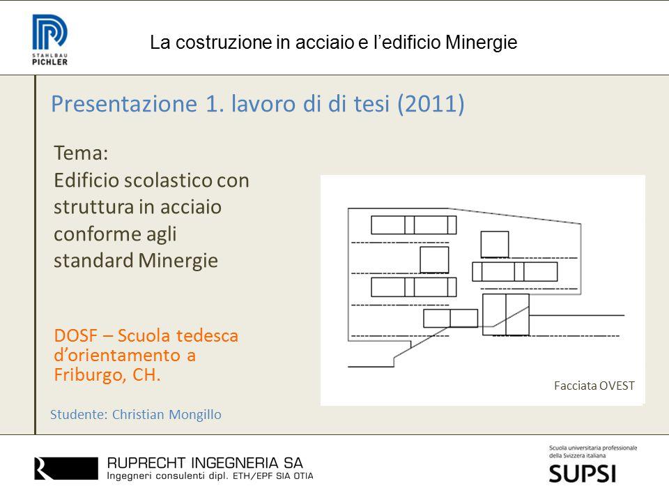 Presentazione 1. lavoro di di tesi (2011) Tema: La costruzione in acciaio e l'edificio Minergie Edificio scolastico con struttura in acciaio conforme
