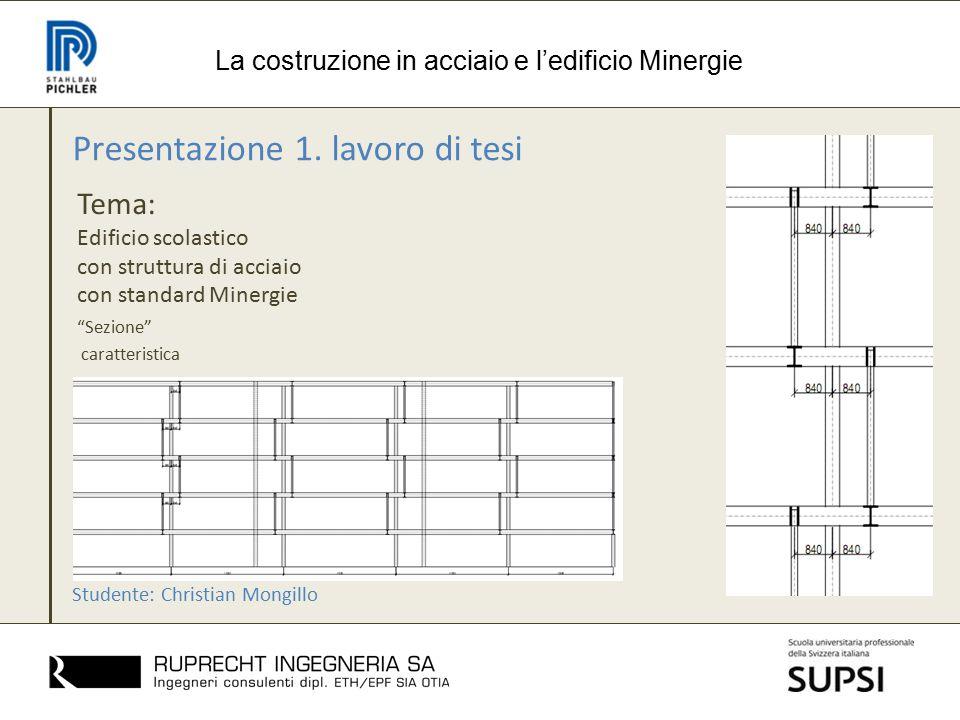 Presentazione 1. lavoro di tesi Tema: Edificio scolastico con struttura di acciaio con standard Minergie La costruzione in acciaio e l'edificio Minerg
