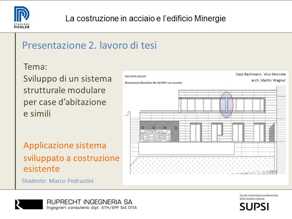 Presentazione 2. lavoro di tesi Tema: La costruzione in acciaio e l'edificio Minergie Sviluppo di un sistema strutturale modulare per case d'abitazion