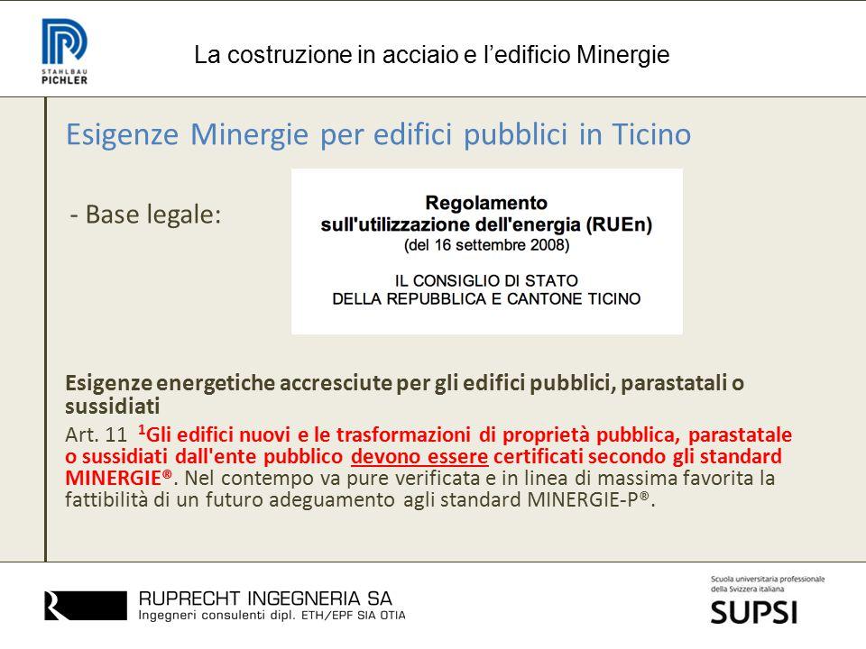 Esigenze Minergie per edifici pubblici in Ticino - Base legale: La costruzione in acciaio e l'edificio Minergie Esigenze energetiche accresciute per g