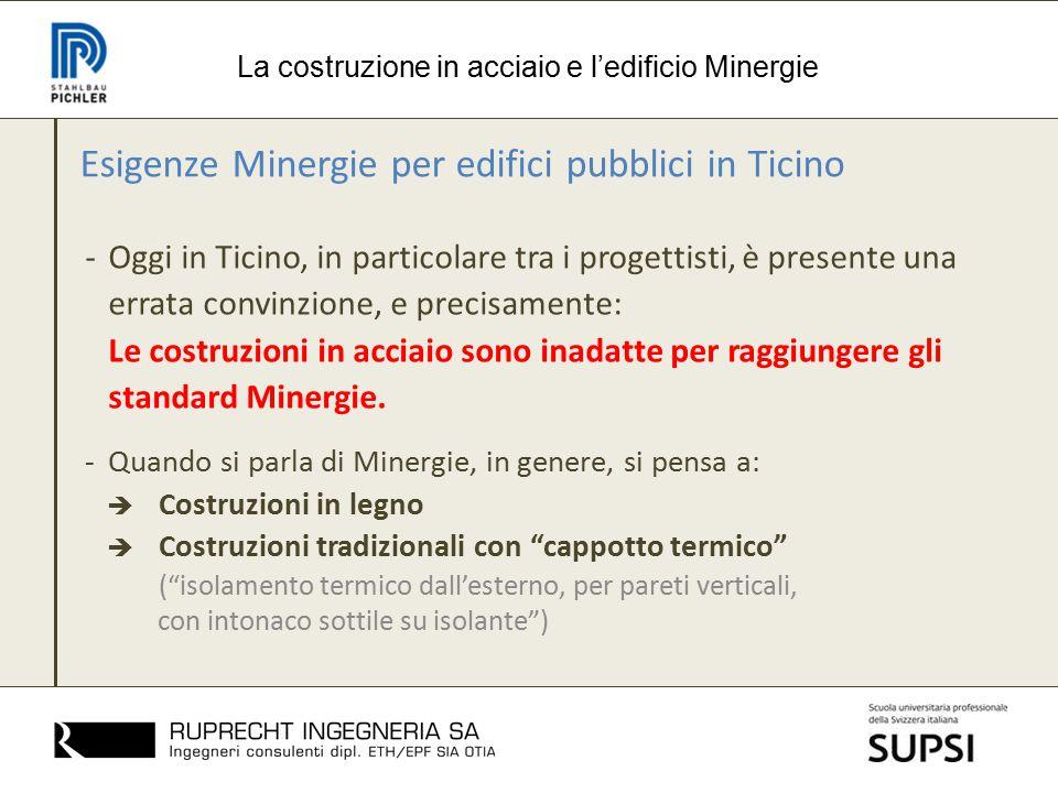 Esigenze Minergie per edifici pubblici in Ticino -Oggi in Ticino, in particolare tra i progettisti, è presente una errata convinzione, e precisamente: