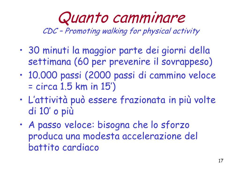 17 Quanto camminare CDC – Promoting walking for physical activity 30 minuti la maggior parte dei giorni della settimana (60 per prevenire il sovrappeso) 10.000 passi (2000 passi di cammino veloce = circa 1.5 km in 15') L'attività può essere frazionata in più volte di 10' o più A passo veloce: bisogna che lo sforzo produca una modesta accelerazione del battito cardiaco