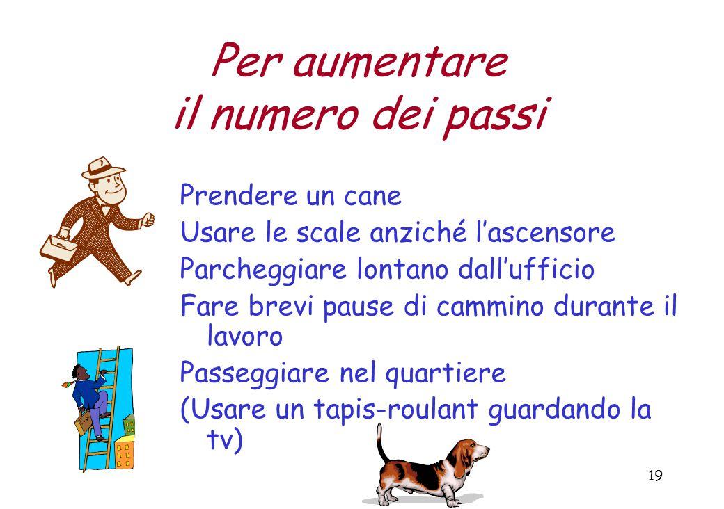 19 Per aumentare il numero dei passi Prendere un cane Usare le scale anziché l'ascensore Parcheggiare lontano dall'ufficio Fare brevi pause di cammino durante il lavoro Passeggiare nel quartiere (Usare un tapis-roulant guardando la tv)