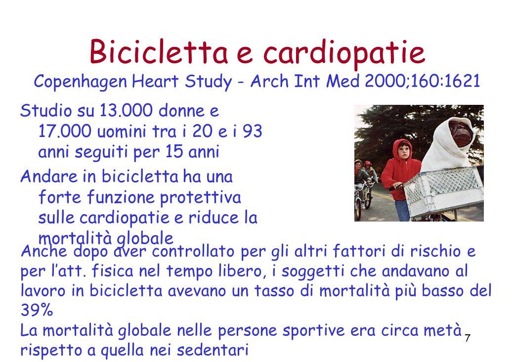 7 Bicicletta e cardiopatie Copenhagen Heart Study - Arch Int Med 2000;160:1621 Studio su 13.000 donne e 17.000 uomini tra i 20 e i 93 anni seguiti per 15 anni Andare in bicicletta ha una forte funzione protettiva sulle cardiopatie e riduce la mortalità globale Anche dopo aver controllato per gli altri fattori di rischio e per l'att.