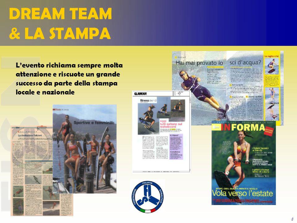 8 L'evento richiama sempre molta attenzione e riscuote un grande successo da parte della stampa locale e nazionale DREAM TEAM & LA STAMPA